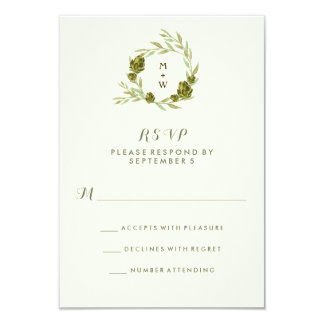 Botanical Wreath with Leaves and Artichokes RSVP Card