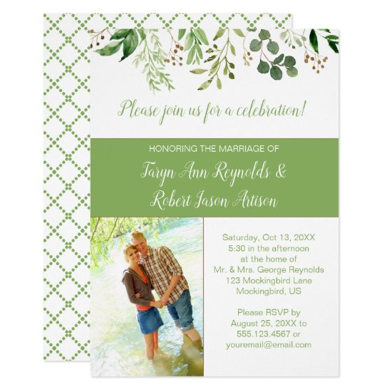 Botanicals Photo Block Reception Only Invitation |
