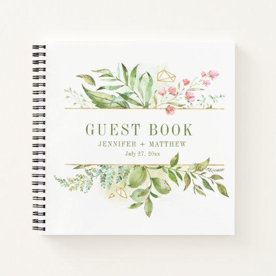 Botanicals Pink Flowers Gold Frame Guest Book