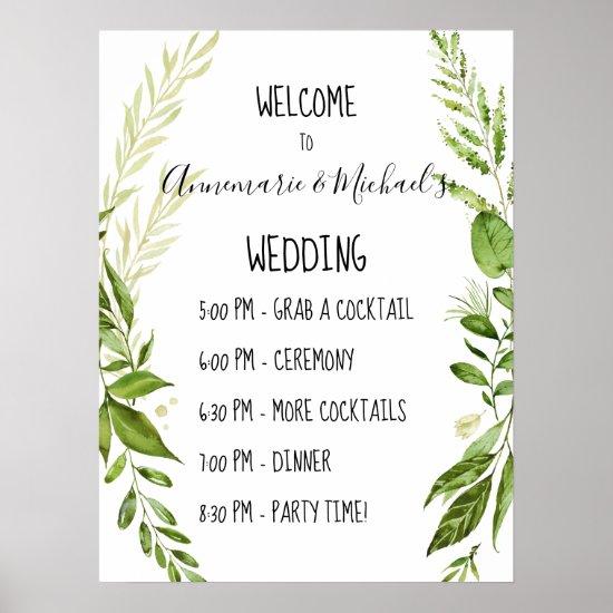 Botanicals Wedding Ceremony Dinner Welcome Sign