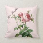 Botánico color de rosa rosado almohada
