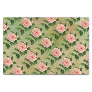 Botánico francés de la camelia del vintage papel de seda pequeño