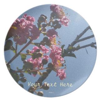 Botánico natural de las flores rosadas con volante plato de comida