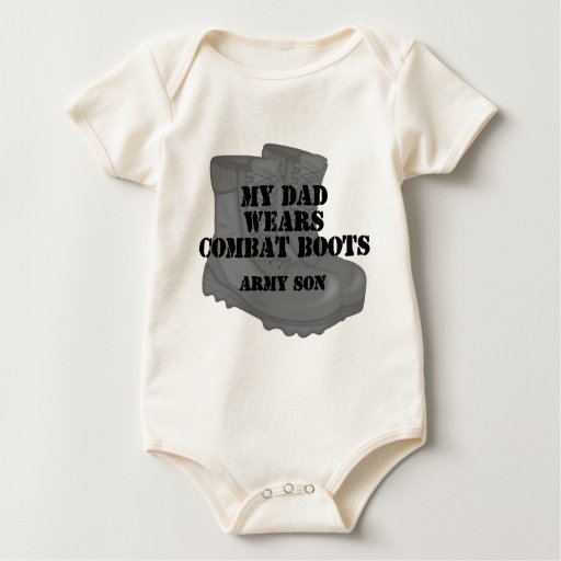 Botas de combate del papá del hijo del ejército traje de bebé