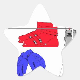 Botas de esquiar, guantes y palillos pegatina en forma de estrella