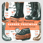 Botas de goma del calzado del vintage del catálogo pegatinas cuadradas