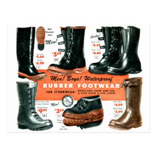 Botas de goma del calzado del vintage del catálogo postal