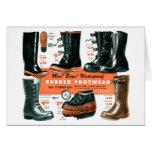 Botas de goma del calzado del vintage del catálogo tarjeta