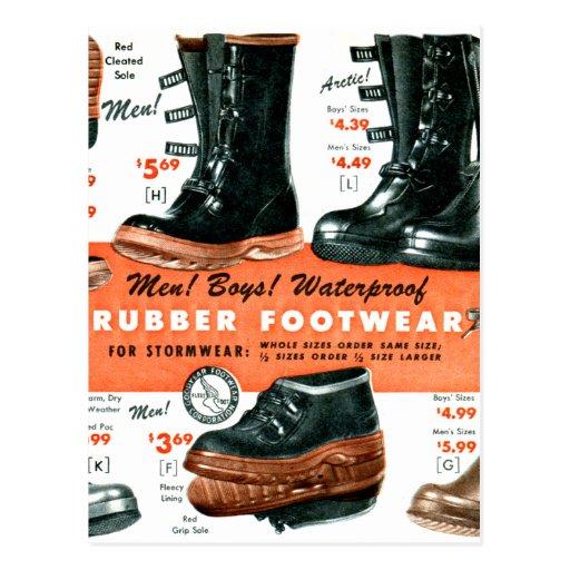 Botas de goma del calzado del vintage del catálogo tarjetas postales