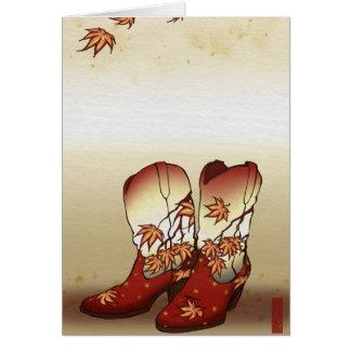 Botas de la caída con adorno de la hoja de arce tarjetón