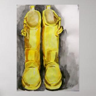 Botas de lluvia amarillas 4 poster