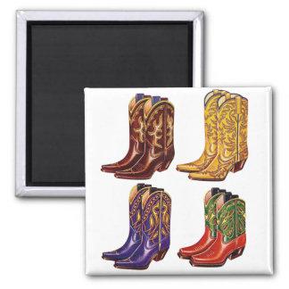 Botas de vaquero coloridas del kitsch retro del vi imán cuadrado