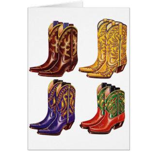 Botas de vaquero coloridas del kitsch retro del vi tarjeta de felicitación