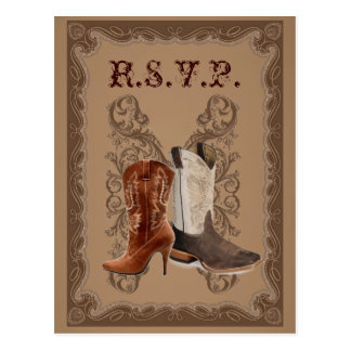 Botas de vaquero del país WeddingFavor occidental Tarjeta Postal