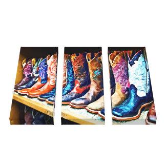 Botas de vaquero lona estirada galerías