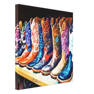 Botas de vaquero lona envuelta para galerías