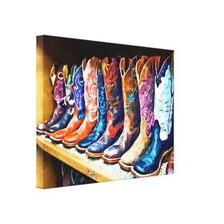 Botas de vaquero impresion de lienzo