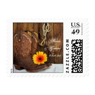 Botas de vaquero, margarita y boda occidental timbres postales