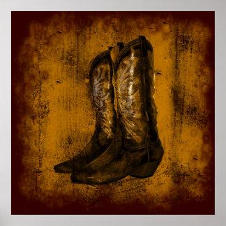 Botas de vaquero occidentales del desgaste del KRW Posters