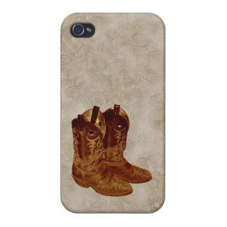 Botas de vaquero occidentales falso Parchement BG iPhone 4 Cobertura