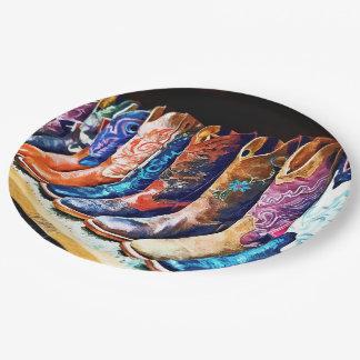 Botas de vaquero plato de papel de 9 pulgadas
