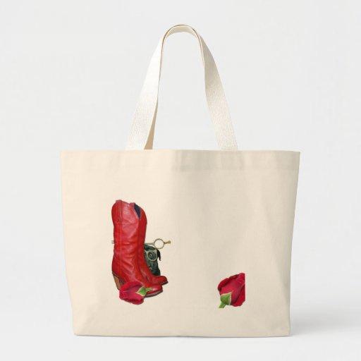 Botas de vaquero rojas, rosas rojos, perro del bar bolsa tela grande