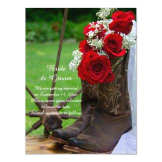 Botas de vaquero rústicas del rosa rojo que casan invitaciones magnéticas