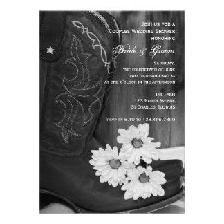 Botas de vaquero y pares de las margaritas que cas invitaciones personalizada