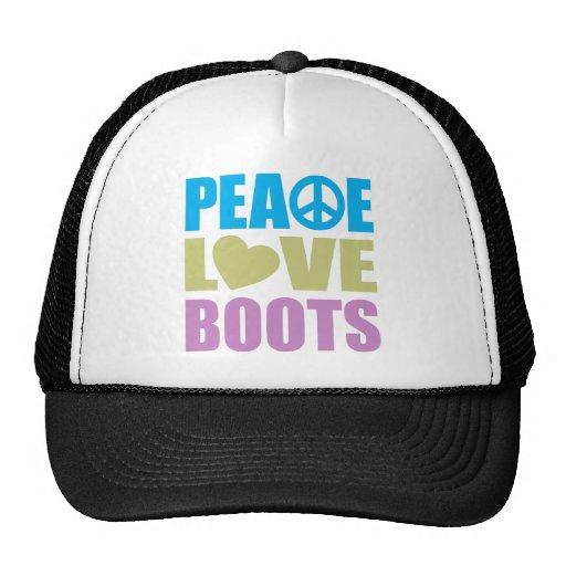 Botas del amor de la paz gorras