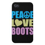 Botas del amor de la paz iPhone 4 protectores