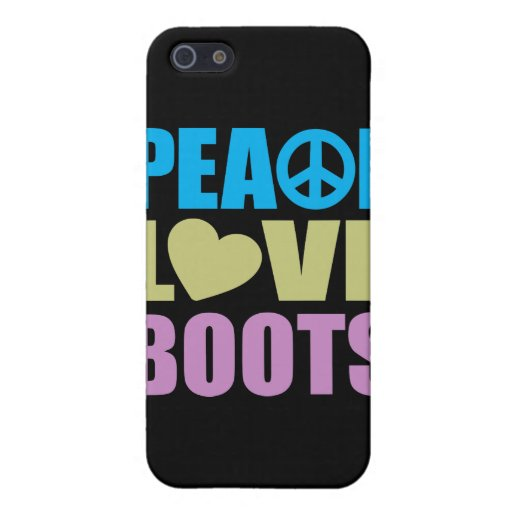 Botas del amor de la paz iPhone 5 cárcasa