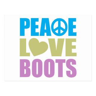 Botas del amor de la paz postal