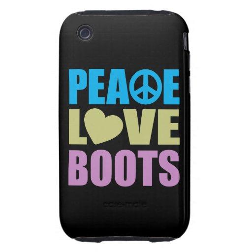 Botas del amor de la paz tough iPhone 3 carcasas