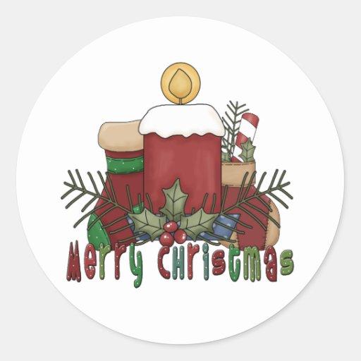 Botas del navidad pegatina redonda