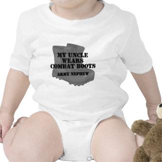 Botas del tío combate del sobrino del ejército camiseta
