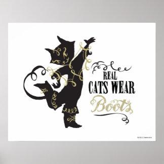 Botas reales del desgaste de los gatos póster