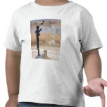 Botas, rifle, placas de identificación, y casco camiseta