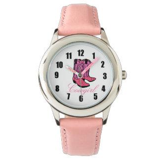 Botas rosadas de la vaquera relojes