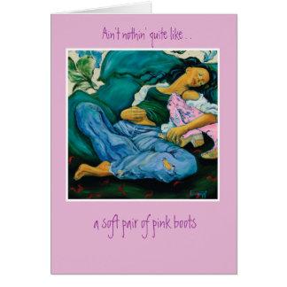 Botas rosadas tarjeta pequeña