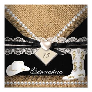 Botas rústicas del gorra de la vaquera de la invitación 13,3 cm x 13,3cm