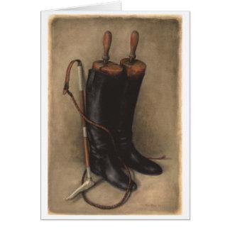 Botas y azote de la caza tarjeta pequeña