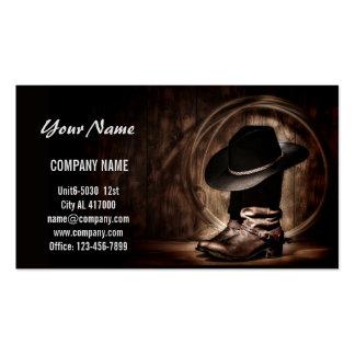 Botas y gorra de vaquero tarjetas de visita