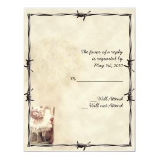 """Botas y tarjeta del oeste viejas de la respuesta invitación 4.25"""" x 5.5"""""""