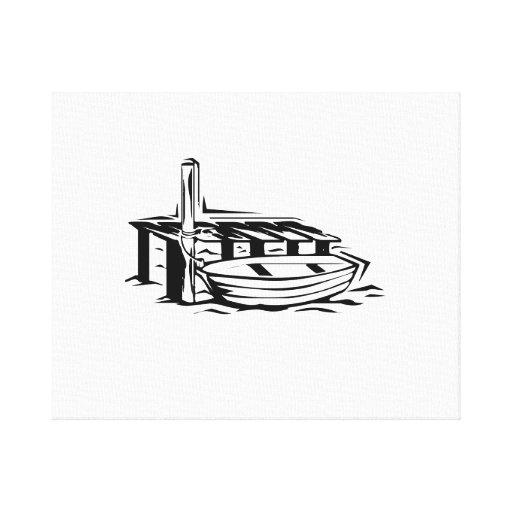 Bote de remos atracado impresión de lienzo