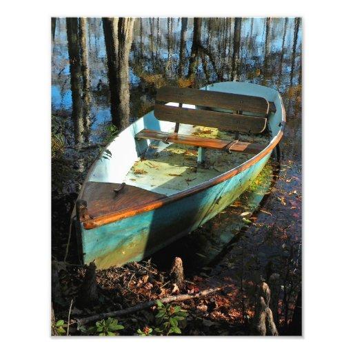 Bote de remos de Cypress en la impresión del otoño Impresiones Fotográficas