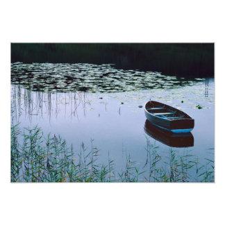 Bote de remos en el pequeño lago rodeado por el ag fotografias