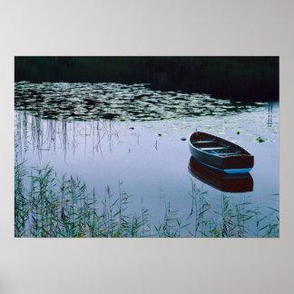 Bote de remos en el pequeño lago rodeado por el ag poster