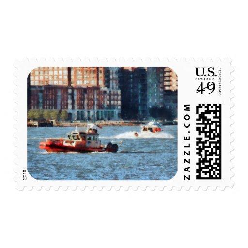 Bote de salvamento el río Hudson del fuego Sellos