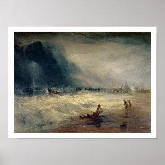 Bote salvavidas y aparato de Manby que se apaga a  Póster
