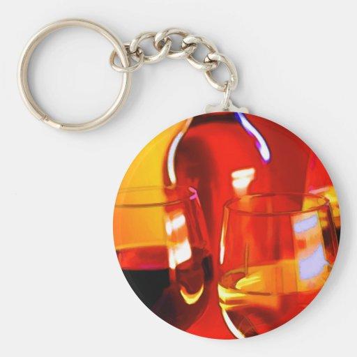 Botella abstracta de vino y de vidrios del rojo y  llavero redondo tipo pin